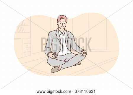 Business, Rest, Meditation, Yoga, Relaxation Concept. Young Calm Smiling Businessman Clerk Manager S