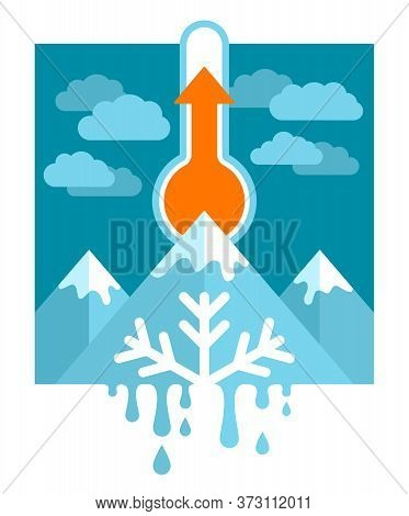 Global Warming And Climate Change Concept - Mercury Thermometer With Rising Temperature Indicator, S