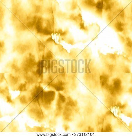 Watercolor Seamless Textile Pattern. Golden Tie Dye Pattern. Ivory, Yellow Batik Watercolor Design.