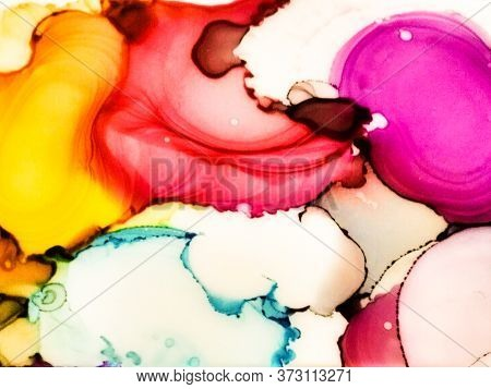 Summer Alcohol Ink Background. Ink Paint Texture. Rainbow Marble Style Texture. Multicolor Sophistic
