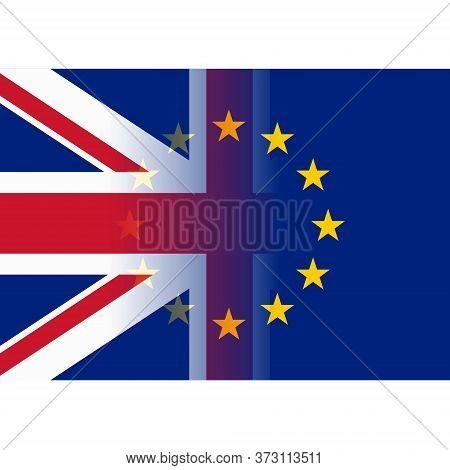 United Kingdom And European Union Flags Merging Vector Design Illustration