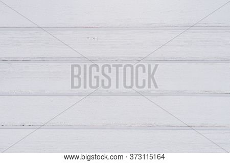 Vintage White Wood Plank Background With Copy Space. Painted Wall With Horizontal Wooden Planks.