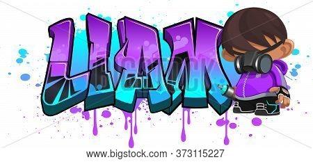 Liam. A Cool Graffiti Name Illustration Inspired By Graffiti And Street Art Culture. Vivid Vibrant C