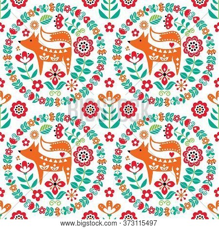 Scandinavian Cute Folk Art Vector Seamless Pattern With Flowers And Fox, Floral Textile Ornament Ins