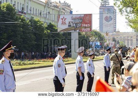 Donetsk, Donetsk People Republic, Ukraine, June 24, 2020: A Convoy Of Military Vehicles With Soviet