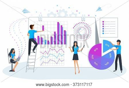 Big Data Analysis And Management Vector Illustration. Workshop Training. Business Plan, Strategy And