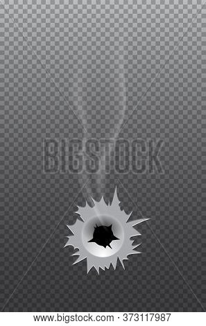 Realistic Bullet Steel Deep Round Hole With Torn Edges And Smoke Trace Gridded Grey Transparent Grad