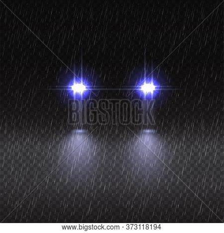 Vector Transparent Effect Car Front Headlights Shining In Rain At Night. Realistic Design Element Bl