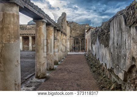 Archaeological Ruin Of Ancient Roman City, Pompeii, Was Destroyed By Eruption Of Vesuvius, Volcano N