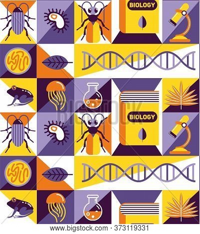 Biology For Kids Pattern Seamless Design Illustration. Fabric And Wallpaper Series.