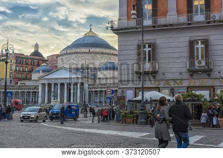 Italy, Naples, 04,01,2018 View Of Piazza Del Plebiscito, Cars And Tourists