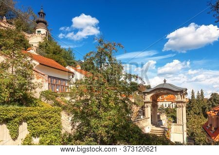 Prague - July 11: Lookout Terrace With Rounded Pavilion Tower On The Top Of Small Furstenberg Garden