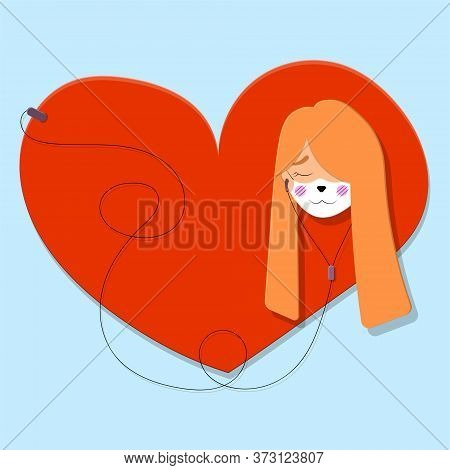 Vector Illustration Of A Kawaii Girl With Red Hair And A Medical Mask With A Print Of The Face Of A
