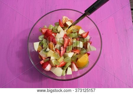 Fruit Salad Strawberry Grapes, Kiwi Oranges Apple And Peaches For Summer Healthy Lifestyle