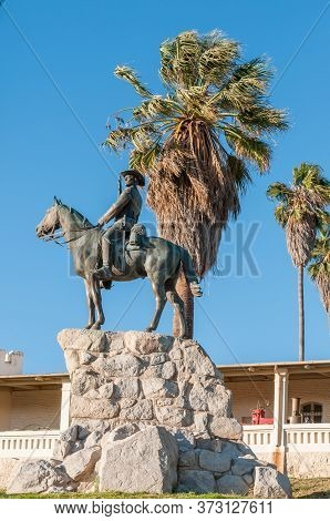 Windhoek, Namibia - May 17, 2011: The Equestrian Rider Monument From The German Era In Windhoek. The