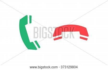 Call Handset Icon. Call And Hang Up Symbol Vector Eps 10