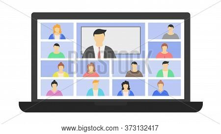 Lesson Or Meeting Of Online Students. The Concept Of Distance Learning Coronavirus Quarantine Progra