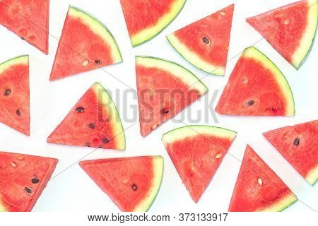 Water Melon Chunks Pattern On White Background.