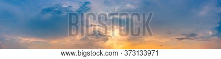Twilight Panorama Sky Background With Colorful Cloud In Dusk. Panoramic Image.