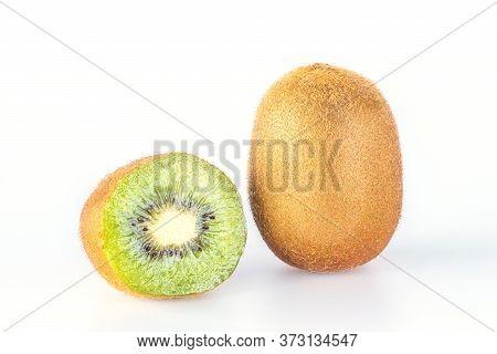 Giwi Fruit Slice Isolated On White Background.