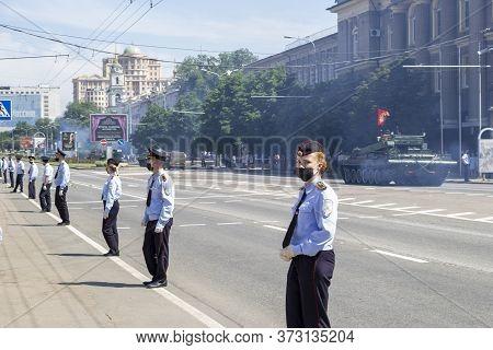 Donetsk, Donetsk People Republic, Ukraine, June 24, 2020: A Column Of Heavy Military Equipment Move