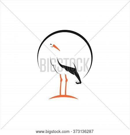 Standing Stork Logo Simple Cartoon Of Vector For Clip Art Design Examples