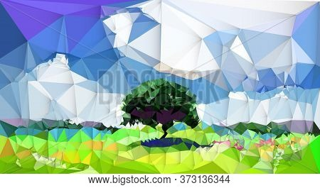 Illustration Abstract Image Of Landscape With Tree And Clouds On Blue Sky. Vector Modern Graphic Des
