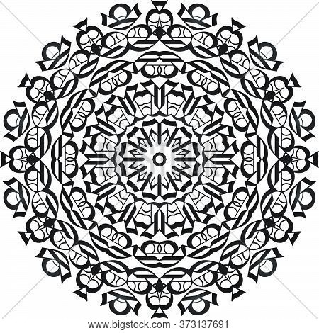 Black Color Floral Mandala Pattern In White Background.