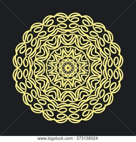 Colorful Floral Mandala Pattern In Black Background.