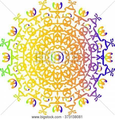 Colorful Floral Mandala Pattern In White Background.