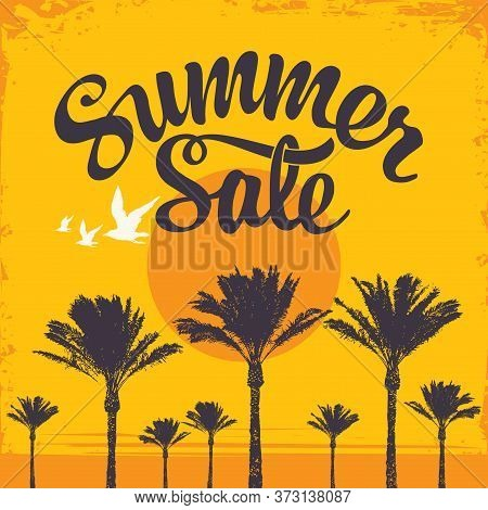 Summer Sale Banner With A Hot Tropical Landscape. Sale Discount Illustration. Vector Banner With Let