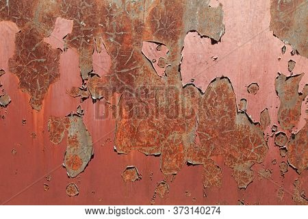 Texture Of An Old Metallic Wall, Background. Surface, Colored With Red  (brown) Faded Color With Pee