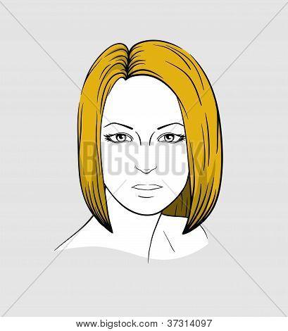 Face of woman with medium long hair