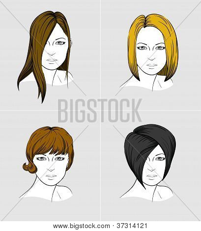 Faces of four women with different hair styles