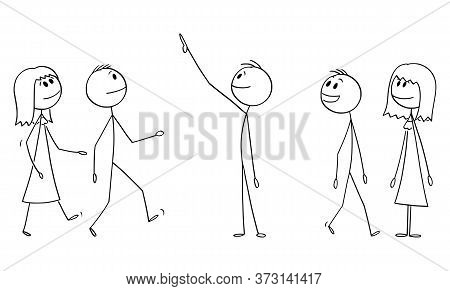 Vector Cartoon Stick Figure Drawing Conceptual Illustration Of Group Or Crowd Of Smiling People Watc
