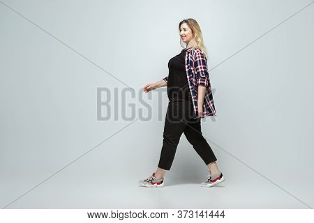Fashionable Leader. Young Woman In Casual Wear On Gray Background. Bodypositive Character, Feminism,