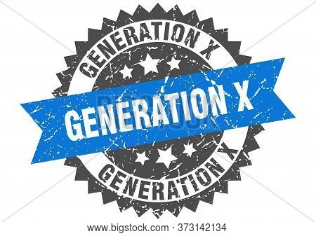 Generation X Grunge Stamp With Blue Band. Generation X