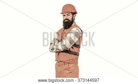 Portrait Architect Builder, Civil Engineer Working. Bearded Man Worker With Beard In Building Helmet