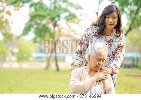 Touching Hands Asian Senior Or Elderly Old Lady Woman Patient With Love, Care, Helping, Encourage An