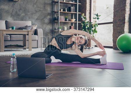 Full Size Photo Of Focused Athlete Energy Beautiful Slim Slender Girl Watch Laptop Yoga Workout Doin