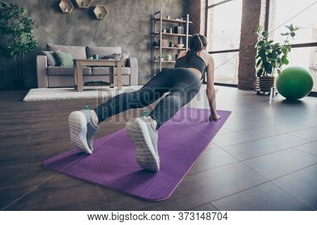 Full Length Back Rear Spine View Photo Of Athlete Beautiful Girl Doing Push- Ups Aerobics Plank Prac