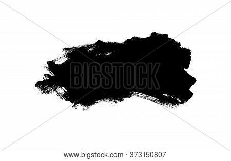 Vector Black Paint, Ink Brush Stroke, Rectangular Shape. Dirty Grunge Design Element, Rectangle Or B