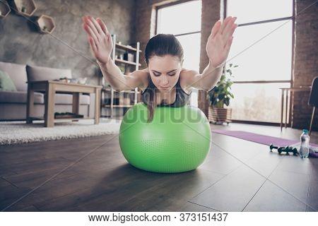 Closeup Photo Of Beautiful Lady Quarantine Hobby Training Stay Home Dynamic Pilates Stretching Pract