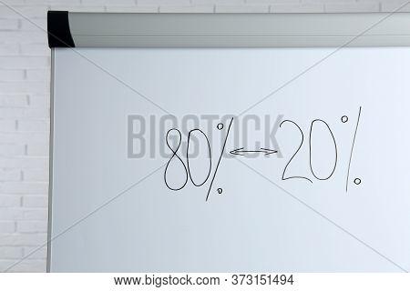 Flip Chart Board With 80/20 Rule Representation, Closeup, Closeup. Pareto Principle Concept