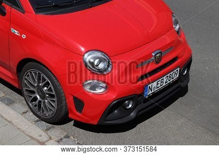 Nuremberg, Germany - May 7, 2018: Fiat 500 Abarth Small City Car Parked In Germany. There Were 45.8