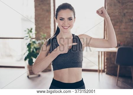 Photo Of Beautiful Cheerful House Wife Homey Lady Quarantine Hobby Training Stay Home Direct Finger