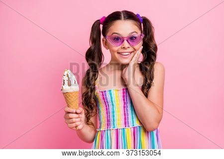 Photo Of Beautiful Little Lady Two Cute Curly Long Tails Hold Big Cone Ice Cream Gelato Hand On Chee