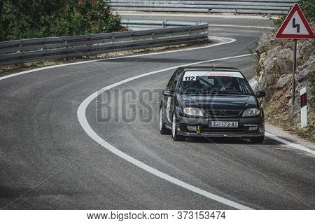 Skradin Croatia June 2020 Black Racing Version Of Citroen Saxo Going At High Speed On A Hill Climb C
