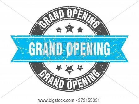 Grand Opening Round Stamp With Turquoise Ribbon. Grand Opening