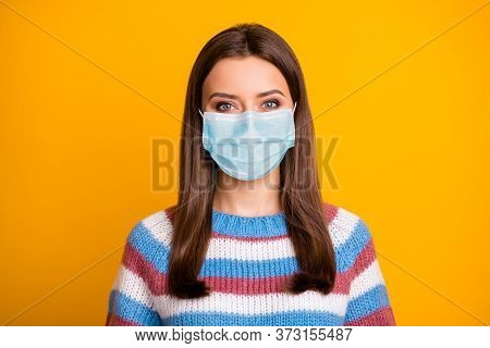 Close-up Portrait Of Her She Nice Attractive Brown-haired Girl Wearing Gauze Mask Striped Pullover C